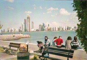 Panorama von Abu Dhabi von Breakwater aus gesehen Foto: Hans-Peter Gaul
