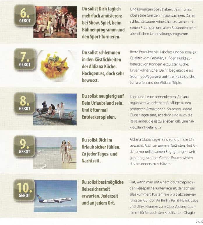 Im aktuellen Winterkatalog sind die 10 Gebote für Urlauber veröffentlicht