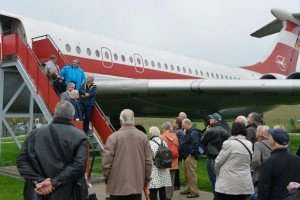 Die vor 25 Jahren in Stölln gelandete IL 62 stand im Mittelpunkt des Medientreffs Foto: Karlheinz Schindler