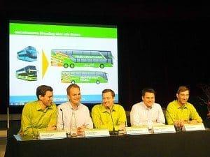 Die innovativen Chefs des Fernbus-Großplayers während der Veranstaltung für die Medien Foto: Manfred Weghenkel