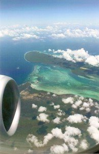 Karibikblick aus dem Flugzeug