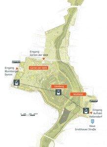 Planung Seilbahn in den Gärten der Welt Grafik: © geskes hack Landschaftsarchitekten, VIC Brücken und Ingenieurbau