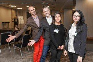 Herzlich willkommen: Frank Grafenstein, Clemens Glade, Olga Sanavia und Luisa Behrens (v. l.) von der Tourismus-Marketing Agentur Grafenstein
