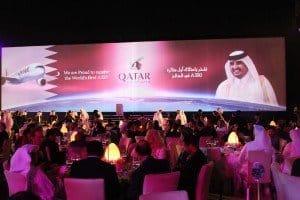 Stimmungsvolle Abendgala zur Premiere des ersten A 350-Airbus am Premium-Terminal von Qatar-Airways in Doha