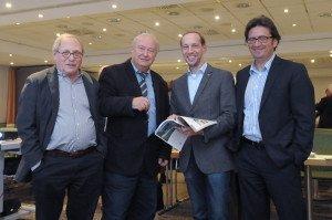Kommunikationschef Mario Köpers und Fernreisechef Steffen Boehnke von TUI Deutschland mit den CTOUR-Vorstandsmitgliedern Hans-Peter Gaul und Bernd Siegmund (v. r.) Foto: Wolf-Georg Kirst (fotac)