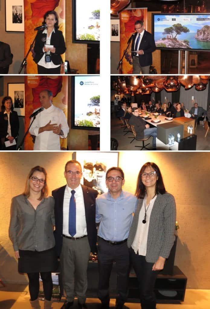 "Während der Präsentation  (Unteres Bild v. l. n. r.): Alba Plana, Marketing; Migel Calm, Präsident ""Patronat de Turisme Costa Brava Girona""; Jaume Marin, Marketing Director; Verónica Mas, Presse"