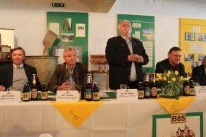 Pressetreff zum Tag des Biers 2015 in Watzdorf: Lothar Grasnick (PRÄSENTA-Chef), Detlef Projahn (Vereinsbrauerei Apolda), Dr. Gerhard Rögner (Erlebnisbrauerei Watzdorf und Jürgen Kachold (Bürgerliches Brauhaus Saalfeld, v. l.)