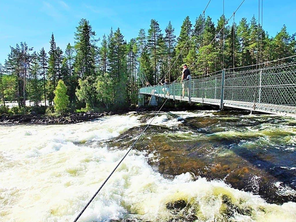 Schwingende Hängebrücke über den beeindruckenden Stromschnellen Mårdsele Forsen