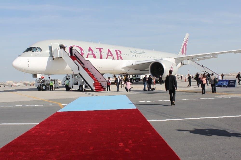 Als weltweiter Erstkunde hatte Qatar Airways nach der Premiere zu Beginn des Jahres seinen ersten Airbus A 350 im Linienverkehr auf der Strecke Doha – Frankfurt/Main eingesetzt Fotos: H.-P. Gaul