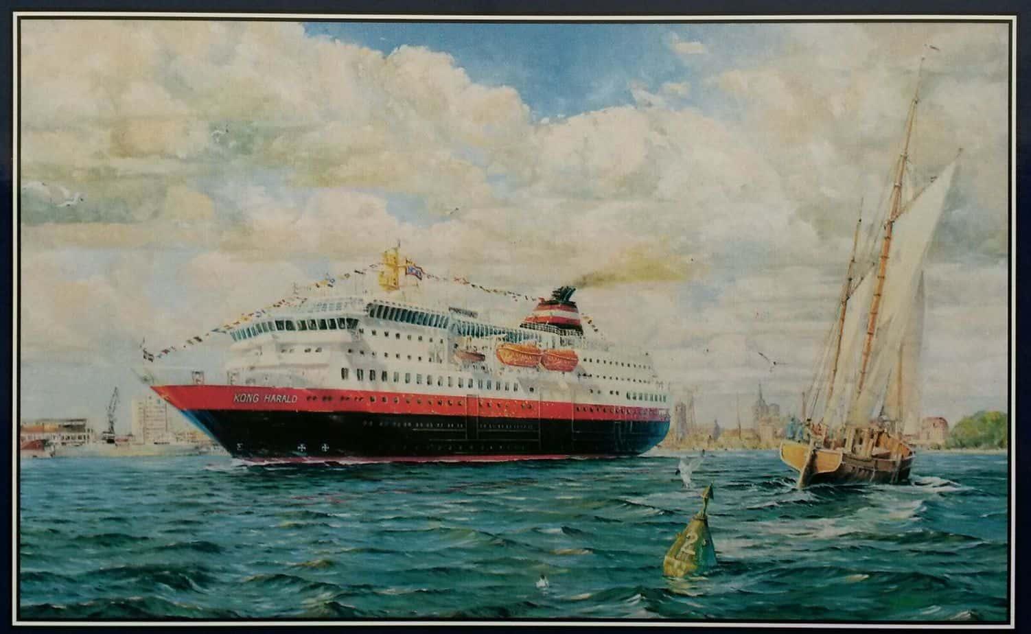 MS Richatd With verläßt Stralsund zur Jungfernfahrt (gemalt von Marinemaler Thomas Quatsling)