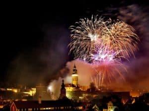 Feuerwerk über Krumrau