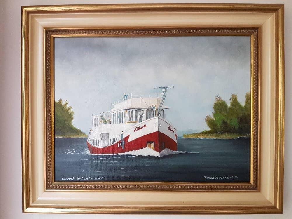 MS LIBERTÉ - Ölbild im Salon, gemalt vom Stralsunder Marinemaler Thomas Quatsling