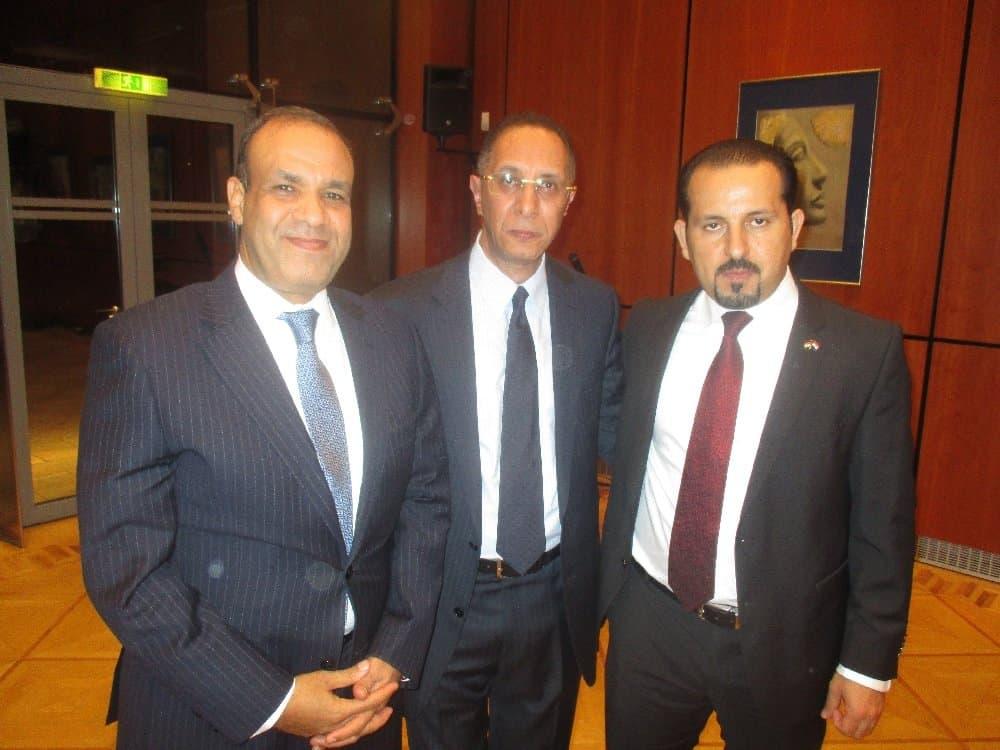 Botschafter Dr. Badr Abdelatty, Mohamed Abdel Gabbar und Tamer Marzouk (v. l.) in der Botschaft der Arabischen Republik Ägypten